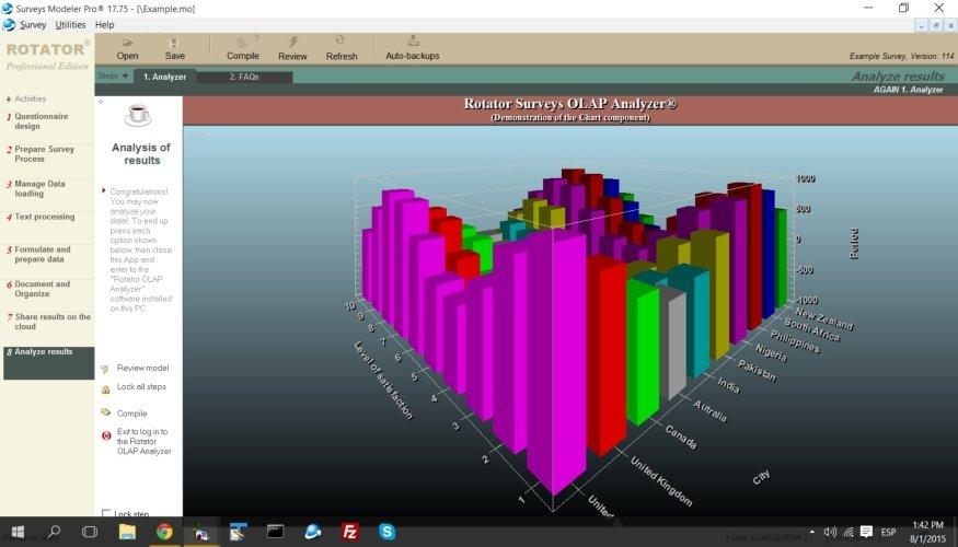 Con RotatorSurvey tendrás resultados con gráficos