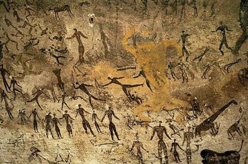 Los hombres primitivos practicando el Storytelling